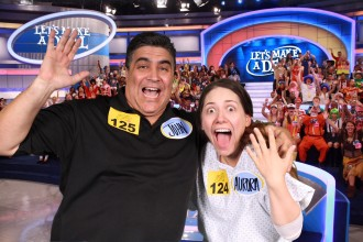 Aurora De Lucia and her dad excited in posed photo before Let's Make a Deal