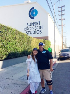 Aurora De Lucia and her dad outside of Sunset Bronson Studios for a Let's Make a Deal taping