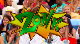 Big zonk graphic over Aurora's face on Let's Make a Deal