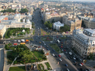 Overview of Bucharest with lots of cars on the street
