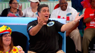 Aurora's dad in disbelief during Let's Make a Deal