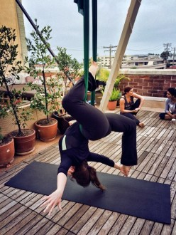 Aurora at rooftop aerial yoga 2