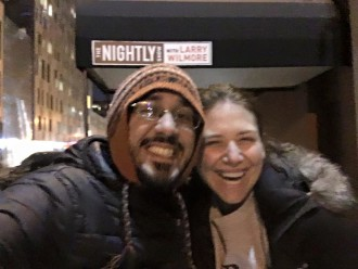 Fareed and Aurora outside The Nightly Show