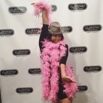 Aurora posing at Flappers step and repeat