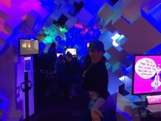 Aurora in the cool videogame room at EPM