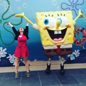 Aurora De Lucia with spongebob at Nickelodeon filtered