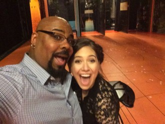 James Iglehart hanging with Aurora De Lucia onstage at Aladdin