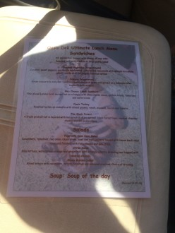 Picture of the lunch menu at Safari Park