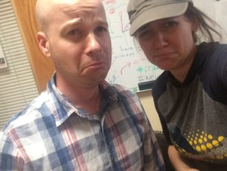 (Yet another sad selfie we took for my boss off at maternity leave)