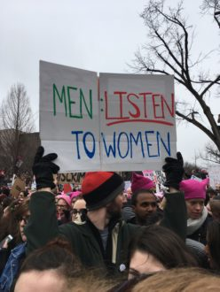 Men: Listen To Women sign at the women's march