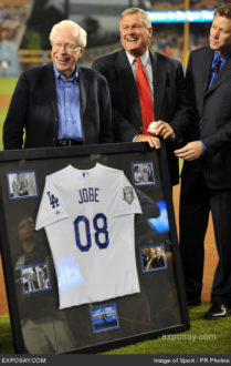 09/23/2008 - Dr. Frank Jobe, Tommy John and Orel Hershiser - 2008 MLB - San Diego Padres at Los Angeles Dodgers (1-10) - September 23, 2008 - Dodger Stadium - Los Angeles, CA, USA - Keywords: Dr. Frank Jobe, left, flanked by former patients Tommy John and Orel Hershiser is honored before game against the San Diego Padres at Dodger Stadium. - False - - Photo Credit: Image of Sport / PR Photos - Contact (1-866-551-7827)